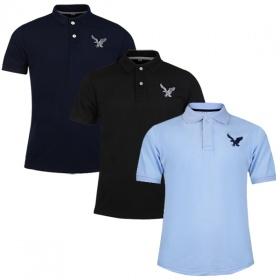 Áo phông nam có cổ polo dokafashion, combo 3 áo màu đen, xanh đen, xanh môn BLACK DB308