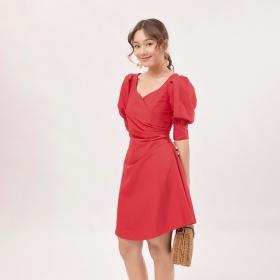 Váy đầm chữ A thời trang Eden xếp li eo tay phồng màu đỏ - D392