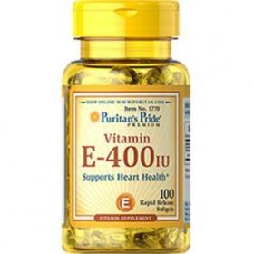 Viên uống dưỡng ẩm cho da, chống lão hóa da bổ sung Vitamin E 400IU 100 viên Puritan's Pride DATE T11/2020