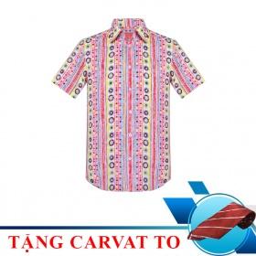 (Mua áo tặng cà vạt) áo sơ mi nam tay ngắn họa tiết The Shirts Studio Hàn Quốc TD07C2516RE