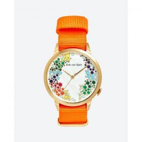 Đồng hồ thời trang unisex Erik von Sant 003.002.E màu cam mặt số họa tiết bubble dây vải 38mm