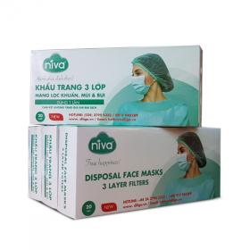 Combo 5 hộp 20 chiếc khẩu trang 2D Niva 3 lớp kháng khuẩn, chống bụi- giao maug ngẫu nhiên