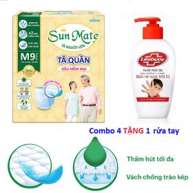 Tặng 1 chai nước rửa tay - Combo 2 gói tã quần người lớn Sunmate size M9 - size L8