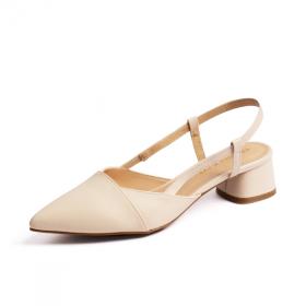 Giày nữ, giày cao gót thời trang Erosska mũi nhọn cổ vuông vá si kiểu dáng đơn giản cao 5cm EL014 (màu nude)