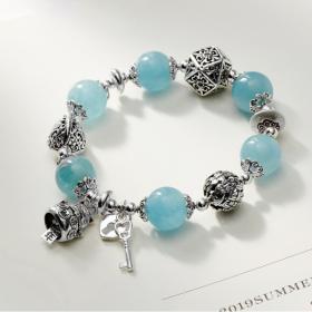 Vòng tay đá Aquamarine phối charm mèo bạc size hạt 12mm thủy, mộc - Ngọc Quý Gemstones