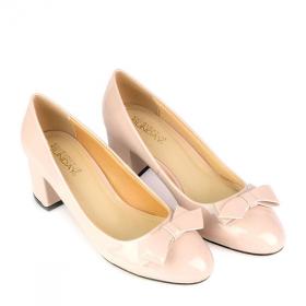 Giày bít gót vuông đính nơ SUNDAY CG52 - Màu kem