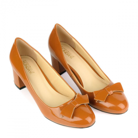 Giày bít gót vuông đính nơ SUNDAY CG52 - Màu nâu