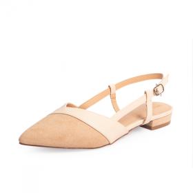 Giày nữ, giày cao gót kitten heel erosska da lộn mũi nhọn tinh tế - EL005 (NU)