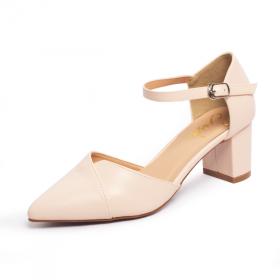 Giày nữ, giày cao gót kitten heels Erosska mũi nhọn phối dây gót vuông cao 5cm EK002 (NU)