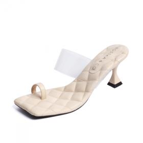 Dép cao gót Erosska thời trang mũi vuông xỏ ngón phối mica trong kiểu dáng thanh lịch cao 5cm EM051