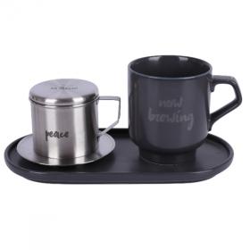 Bộ pha café Peace-Modern 3 món (phin cafe, cốc và đĩa sứ 24cm) Sa Maison