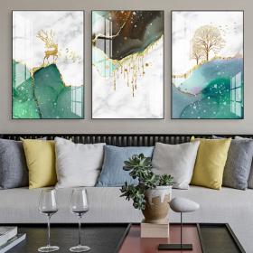 Tranh treo tường tráng gương pha lê cao cấp hươu vàng ngọc lục ̣(40x60x3cm)