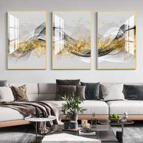 Tranh treo tường tráng gương pha lê cao cấp lụa vàng (50x70x3cm)