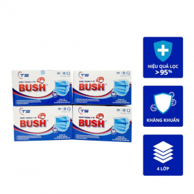 Combo 4 hộp khẩu trang y tế Bush 4 lớp