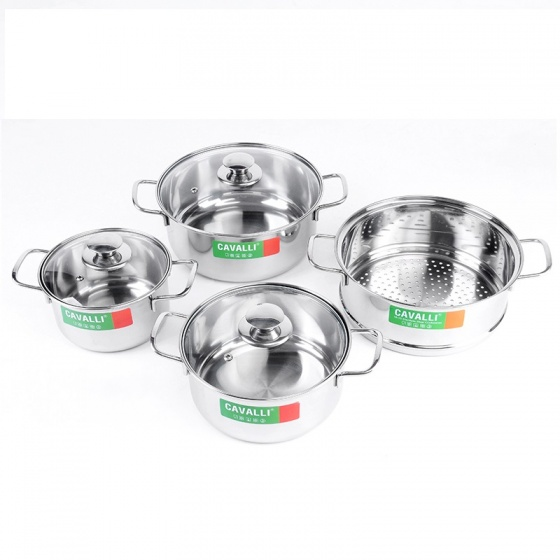 Bộ nồi xửng nắp kính dùng được trên bếp từ Cavalli CL07