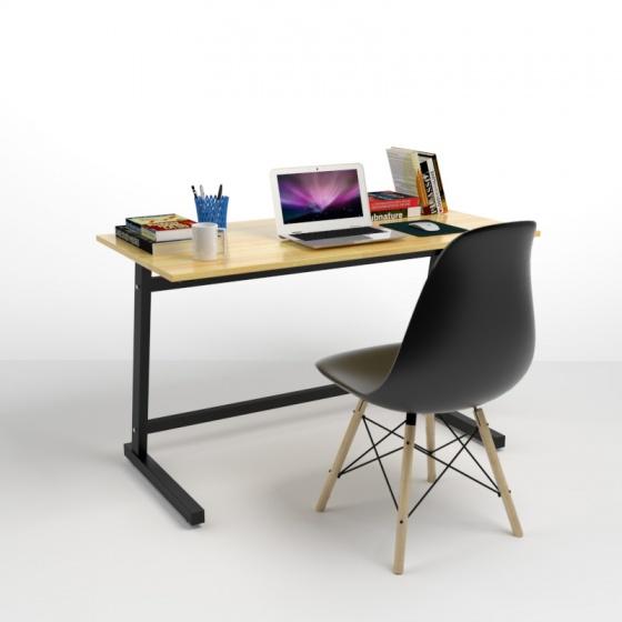 Bộ bàn Rec-Z đen 1m2 và ghế Eames chân gỗ đen - IBIE