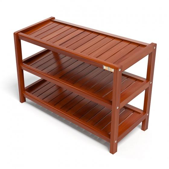 Kệ dép 3 tầng IB373 gỗ cao su 73x30x50 cm màu cánh gián