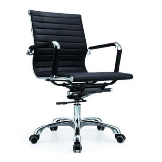 Ghế da IB07GA lưng thấp chân hợp kim nhôm đúc cao cấp màu đen - IBIE