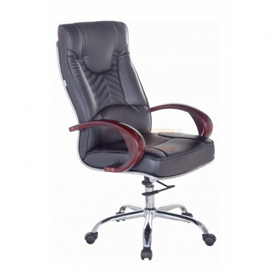 Ghế trưởng phòng IB204 khung đúc tay gỗ chân thép mạ cao cấp màu đen - IBIE