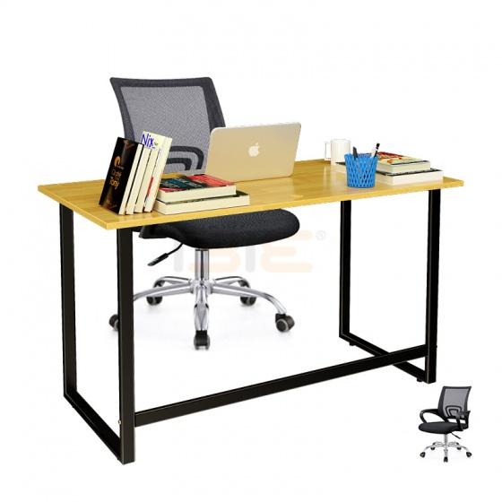 Bộ bàn Rec-F đen gỗ cao su và ghế IB517 đen - IBIE