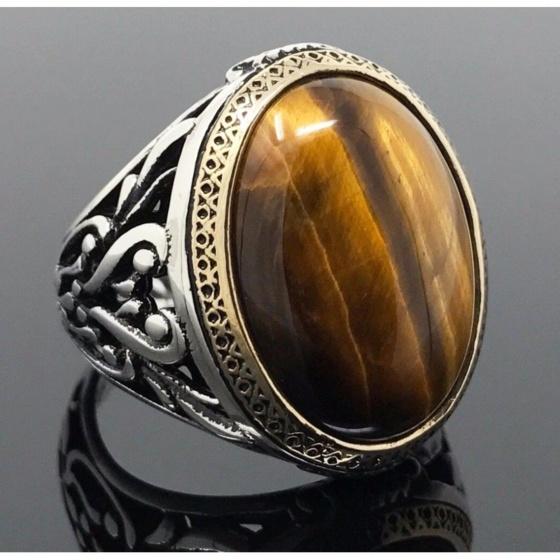 Nhẫn nam đá thạch anh phong thủy mạ vàng 14k - NNAM494