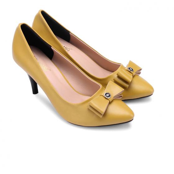 Giày nữ Huy Hoàng đế 7cm màu vàng HV7025
