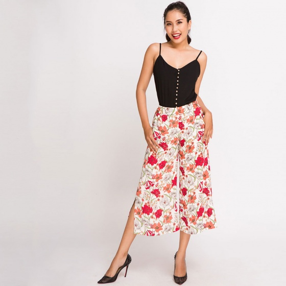 Quần lửng ống rộng xẻ culottes Hity PAN017 (in collage)