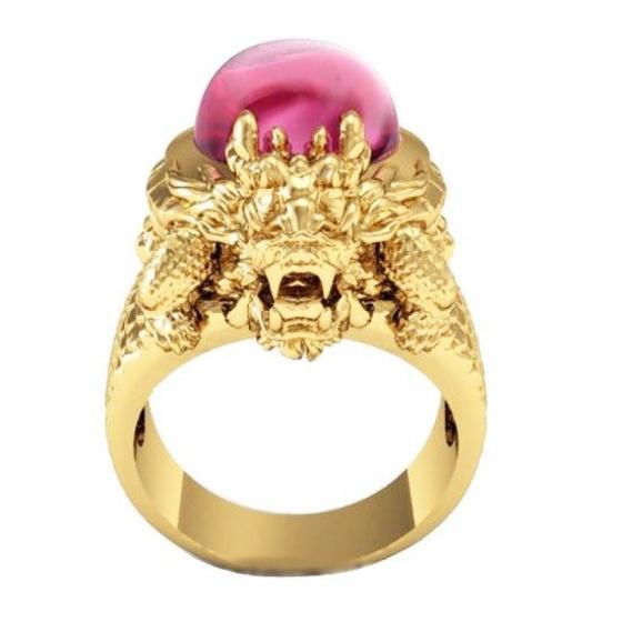 Nhẫn nam mạ vàng đầu rồng - NNAM03