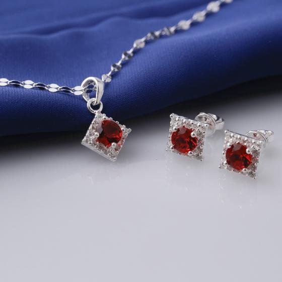Set mặt kèm dây và hoa tai bạc đính đá Ross Opal sis_45