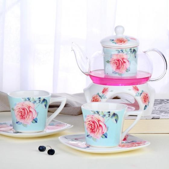 Bộ trà nến 2 chén hoa hồng ( nền xanh)