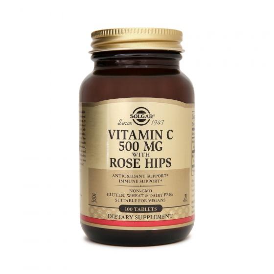 Solgar® Vitamin C 500mg với Dầu Tầm xuân Rose Hips 100 viên nén - Nhập khẩu USA chính hãng - tặng kèm áo thun