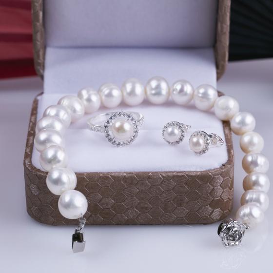Opal - Bộ trang sức ngọc trai kết hợp bạc T05