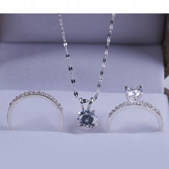 Opal- Bộ trang sức bạc đính đá T05