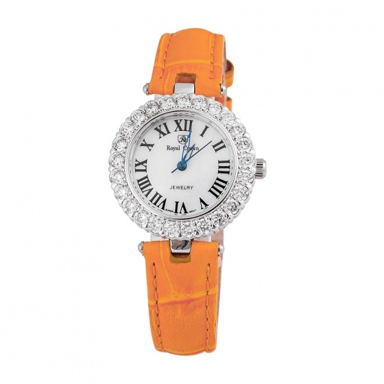 Đồng hồ nữ chính hãng Royal Crown 6305 dây da cam