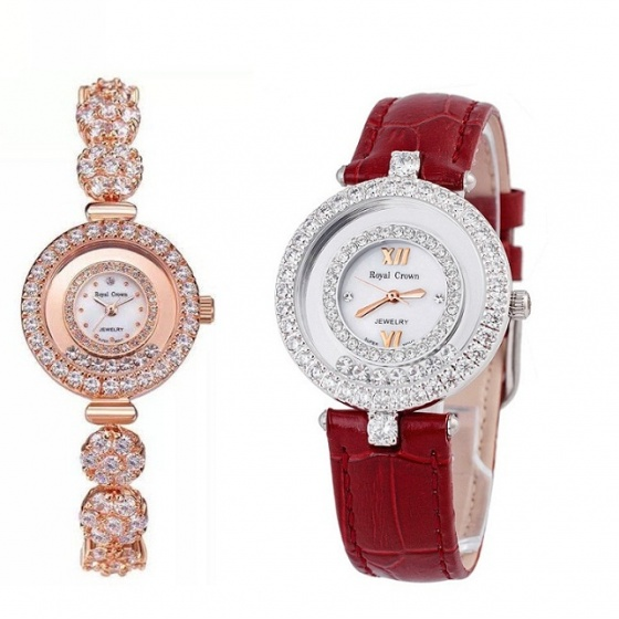 Combo 2SP đồng hồ nữ chính hãng Royal Crown 5308 dây đá vàng hồng và 3628 dây da đỏ