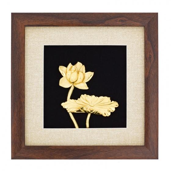 Tranh hoa sen mạ vàng 24K để bàn - THSDB