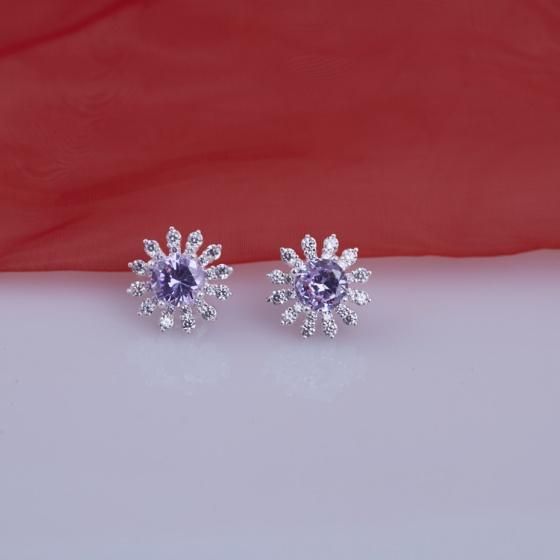 Opal - Hoa tai bạc đá ross _T06