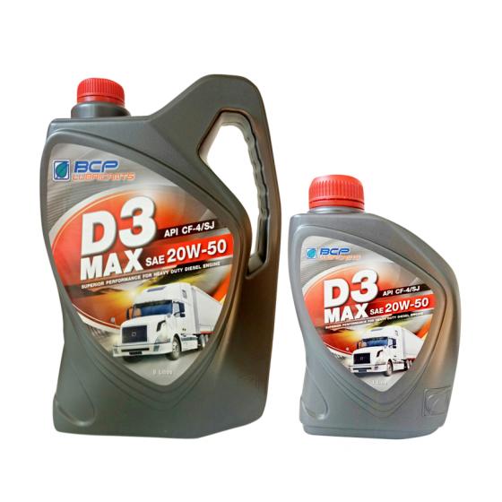 Dầu nhớt cho động cơ Diesel BCP D3 MAX CF4/SJ 20W50 6+1L nhập khẩu Thái Lan