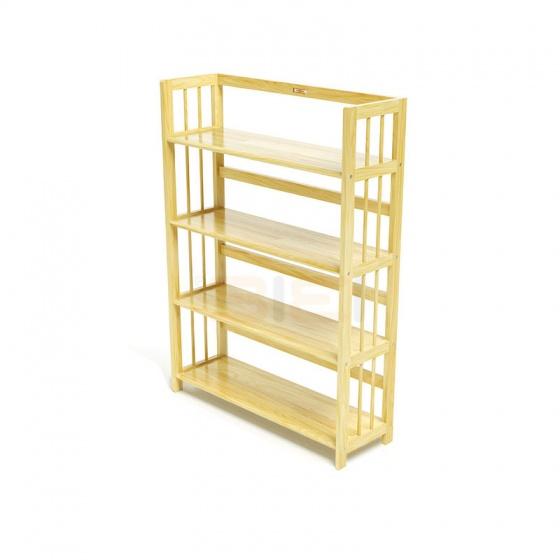 Kệ sách 4 tầng IBIE HB490 gỗ cao su màu tự nhiên (90x30x120cm)