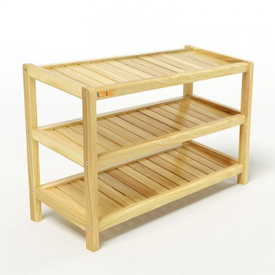 Kệ dép 3 tầng IBIE IB373 gỗ cao su 73x30x50 cm màu tự nhiên