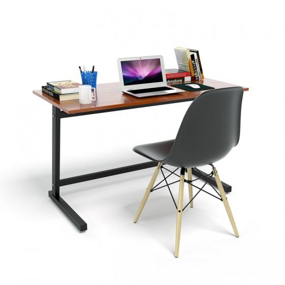 Bộ bàn IBIE Rec-Z trắng màu cánh gián gỗ cao su và ghế Eames chân gỗ đen