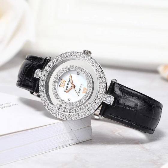 Đồng hồ nữ chính hãng Royal Crown 3628 dây da đen