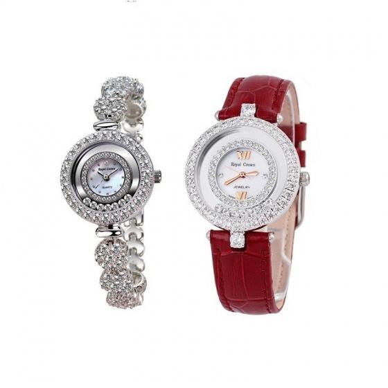 Combo 2 sản phẩm đồng hồ nữ chính hãng Royal Crown 5308 dây đá trắng và 3628 dây da đỏ