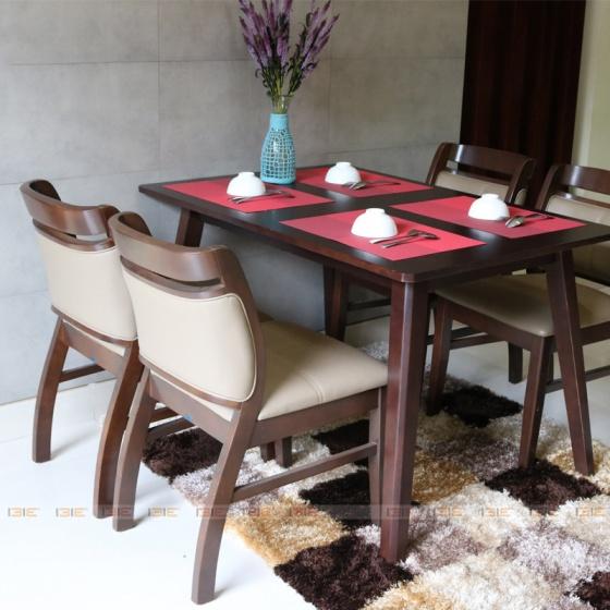 Bộ bàn ăn 4 ghế IBIE Dotori màu walnut
