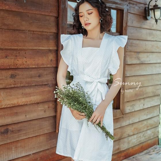 Đầm cổ vuông tay bèo Kimi -...