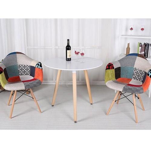 Bộ bàn ăn, cafe thư giãn hiện đại cho 2 người gồm bàn tròn T105 và ghế cafe bọc vải thổ cẩm chân gỗ 209TC