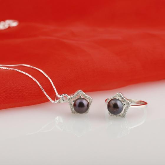 Opal - Bộ trang sức bạc và ngọc trai đen ngôi sao may mắn _T08