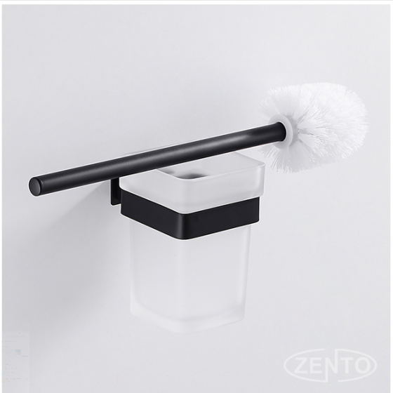 Bộ chổi cọ & kệ đỡ toilet inox304 Black series Zento HC6807