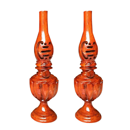 Bộ đèn dầu gỗ hương cao 31cm