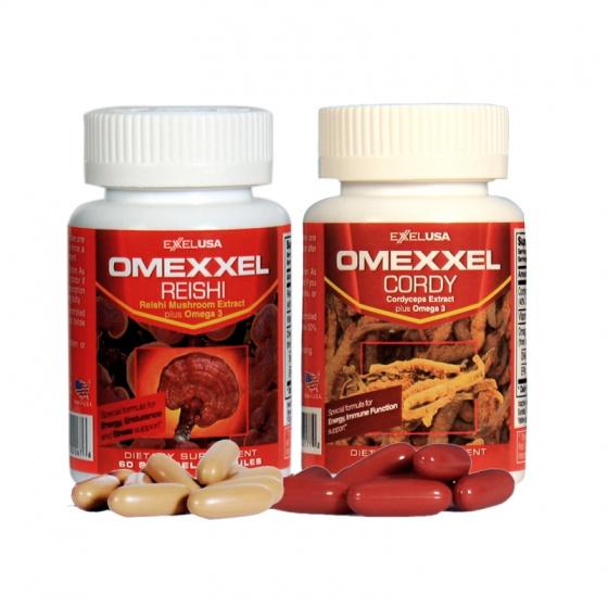 Combo viên uống đông trùng hạ thảo,nấm linh chi Omexxel Cordy và Omexxel Reishi - Chính Hãng Hoa Kỳ